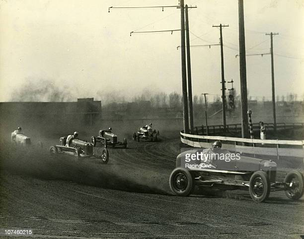 Tommy Hinnerschitz leads the way during a Sprint Car race at the Reading Fairgrounds Speedway.