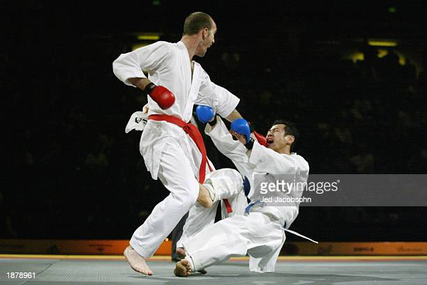 Tommy Hood of the USA competes against Alonso Murayama of Mexico during the karate portion of the Titan Games at the Events Center at San Jose State...