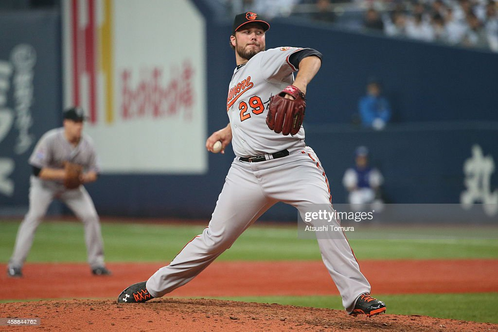 Tommy Hunter #29 of the Baltimore Orioles pitches against Samurai Japan in the sixth inning during the Game one of Samurai Japan and MLB All Stars at Kyocera Dome Osaka on November 12, 2014 in Osaka, Japan.