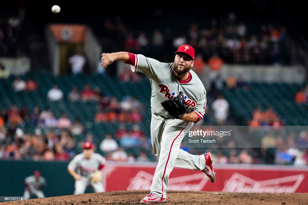 Tommy Hunter #40 of the Philadelphia Phillies pitches against the Baltimore Orioles during the seventh inning at Oriole Park at Camden Yards on July 12, 2018 in Baltimore, Maryland.