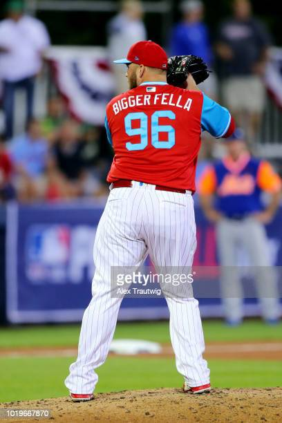 Tommy Hunter of the Philadelphia Phillies pitches during the 2018 Little League Classic against the New York Mets at Historic Bowman Field on Sunday...
