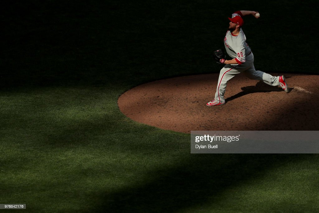Tommy Hunter #40 of the Philadelphia Phillies pitches in the sixth inning against the Milwaukee Brewers at Miller Park on June 16, 2018 in Milwaukee, Wisconsin.