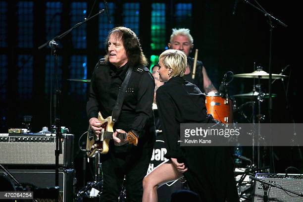 Tommy James and Miley Cyrus performs with Joan Jett the Blackhearts onstage during the 30th Annual Rock And Roll Hall Of Fame Induction Ceremony at...