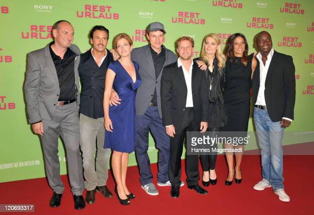 Tommy Jaud , Stephan Luca, Mira Bartuschek, Gregor Schnitzler, Maximilian Brueckner, Martina Hill, Melanie Winiger and Dave Davis attend the Germany...