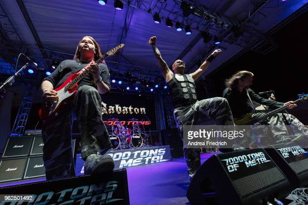 Tommy Johansson Joakim Brodén and Pär Sundström of Sabaton perform onboard the cruise liner 'Independence of the Seas' during the '70000 Tons of...