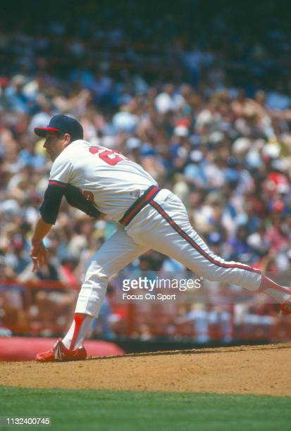 Tommy John of the California Angels pitches during an Major League Baseball game circa 1982 at Anaheim Stadium in Anaheim California John played for...