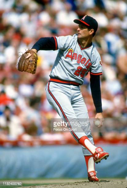 Tommy John of the California Angels pitches during an Major League Baseball game circa 1982. John played for the Angels from 1982-85.