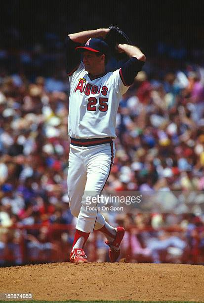 Tommy John of the California Angels pitches during an Major League Baseball game circa 1983 at Anaheim Stadium in Anaheim California John played for...