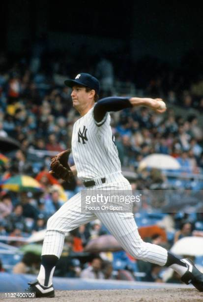 Tommy John of the New York Yankees pitches during a Major League Baseball game circa 1979 at Yankee Stadium in the Bronx borough of New York City...
