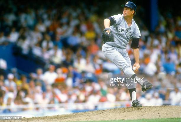 Tommy John of the New York Yankees pitches during an Major League Baseball game circa 1982. John played for the Yankees from 1979-82 and 1986-89.