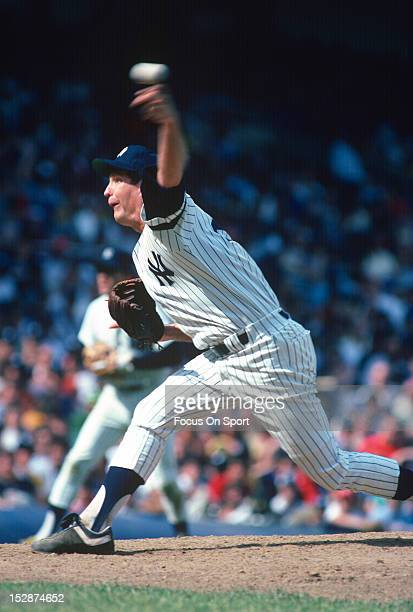 Tommy John of the New York Yankees pitches during an Major League Baseball game circa 1980 at Yankee Stadium in the Bronx borough of New York City...