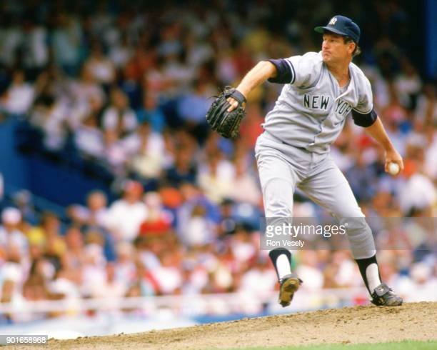 Tommy John of the New York Yankees pitches during an MLB game against the Detroit Tigers at Tiger Stadium in Detroit Michigan during the 1988 season