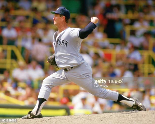 Tommy John of the New York Yankees pitches during an MLB game versus the Chicago White Sox at Comiskey Park in Chicago Illinois during the 1988 season