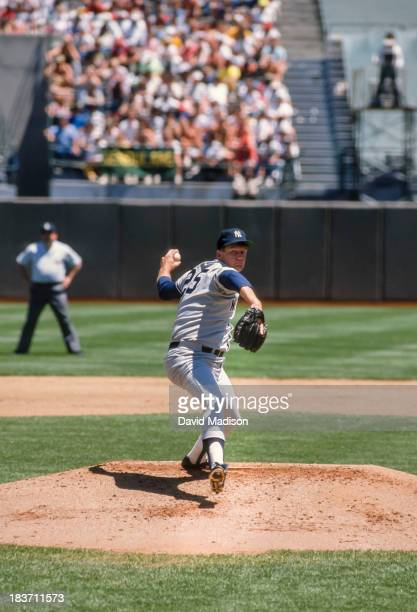 Tommy John of the New York Yankees pitches in a Major League Baseball game against the Oakland Athletics played on May 18, 1989 at the...