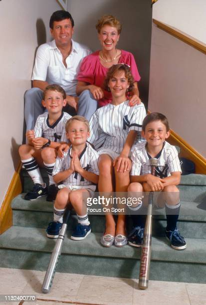 Tommy John of the New York Yankees with his wife Sally and four kids Tamara Tommy Travis and Taylor poses for this portrait circa 1987 John played...