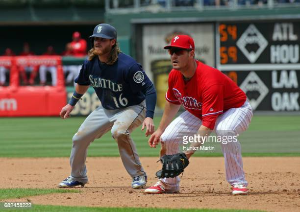Tommy Joseph of the Philadelphia Phillies and Ben Gamel the Seattle Mariners at Citizens Bank Park on May 10 2017 in Philadelphia Pennsylvania The...
