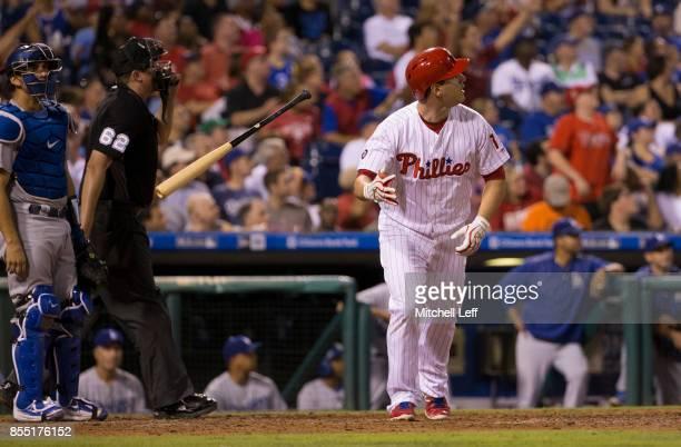 Tommy Joseph of the Philadelphia Phillies bats against the Los Angeles Dodgers at Citizens Bank Park on September 20 2017 in Philadelphia Pennsylvania