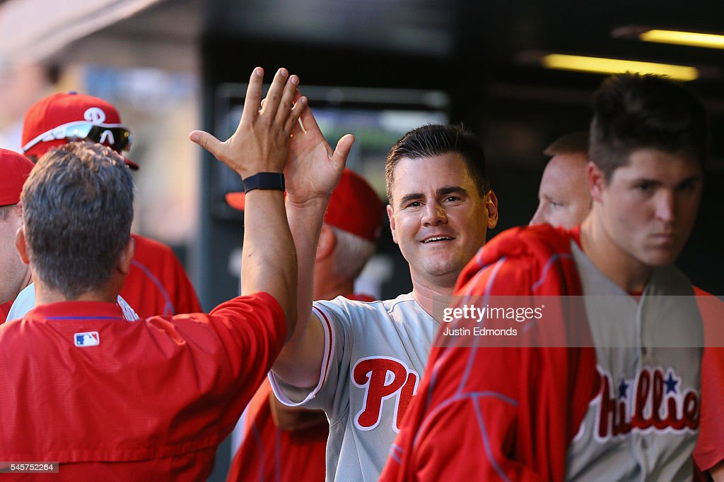 Tommy Joseph #19 of the Philadelphia Phillies celebrates after scoring during the fourth inning against the Colorado Rockies at Coors Field on July 9, 2016 in Denver, Colorado.