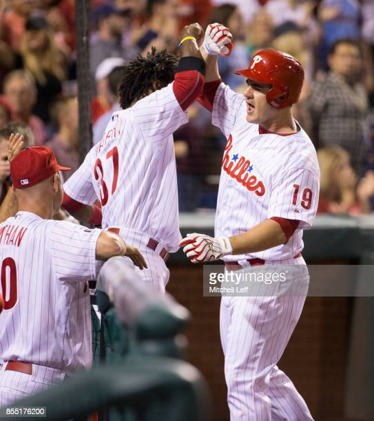 Tommy Joseph of the Philadelphia Phillies celebrates with Odubel Herrera against the Los Angeles Dodgers at Citizens Bank Park on September 20 2017...