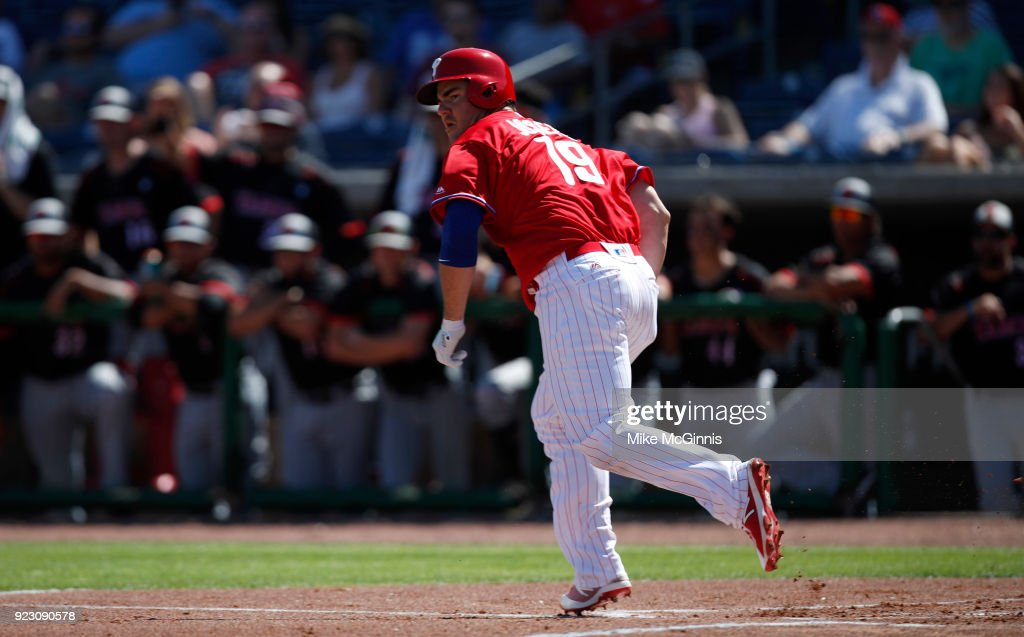 Tommy Joseph #19 of the Philadelphia Phillies drives in Andrew Knapp during the first inning against the University of Tampa during the Spring Training at Spectrum Field on February 22, 2018 in Milwaukee, Wisconsin.