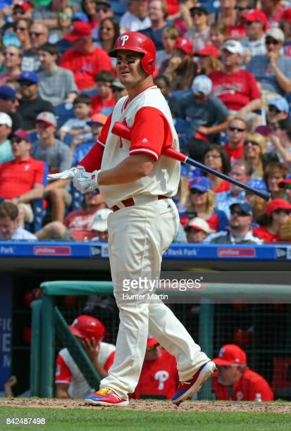Tommy Joseph of the Philadelphia Phillies during a game against the Chicago Cubs at Citizens Bank Park on August 27 2017 in Philadelphia Pennsylvania...
