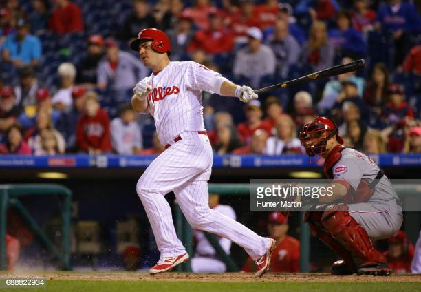 Tommy Joseph of the Philadelphia Phillies hits a ground ball to third base in the ninth inning during a game against the Cincinnati Reds at Citizens...
