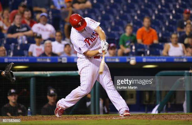 Tommy Joseph of the Philadelphia Phillies hits a solo home run in the sixth inning during game two of a doubleheader against the Miami Marlins at...