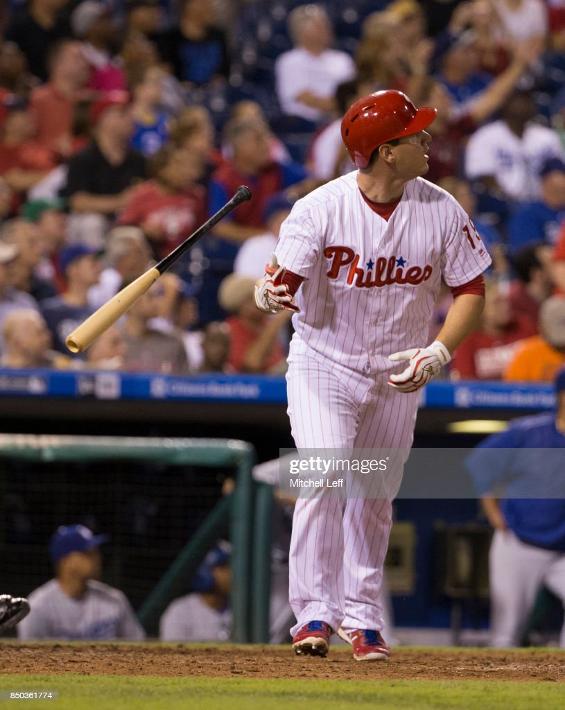Tommy Joseph #19 of the Philadelphia Phillies hits a solo home run in the bottom of the seventh inning against the Los Angeles Dodgers at Citizens Bank Park on September 20, 2017 in Philadelphia, Pennsylvania. The Phillies defeated the Dodgers 7-5.