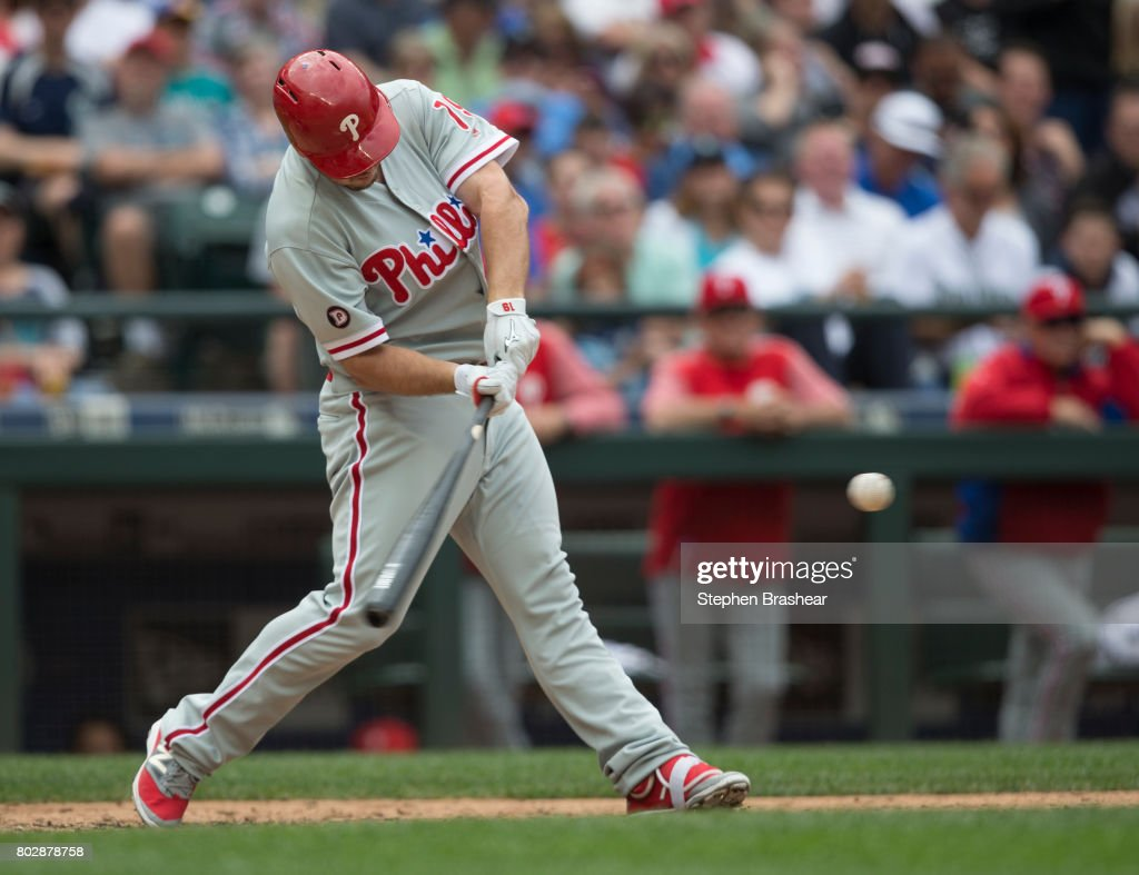 Tommy Joseph #19 of the Philadelphia Phillies hits a solo home run off of relief pitcher Edwin Diaz #39 of the Seattle Mariners during the ninth inning of an interleague game at Safeco Field on June 28, 2017 in Seattle, Washington. The Phillies won 5-4.