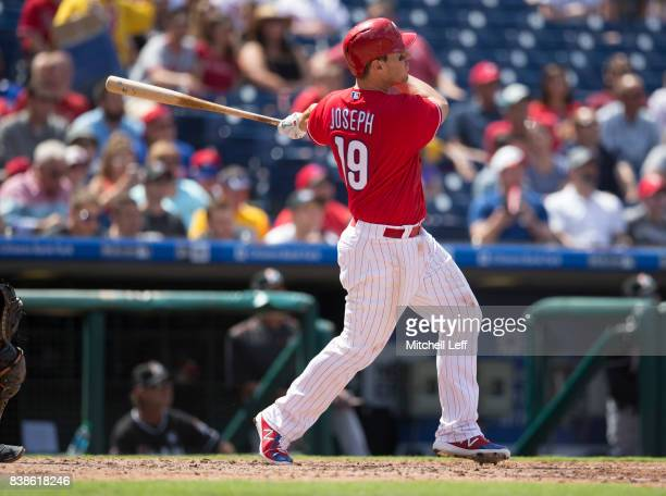 Tommy Joseph of the Philadelphia Phillies hits a three run home run in the bottom of the third inning against the Miami Marlins at Citizens Bank Park...