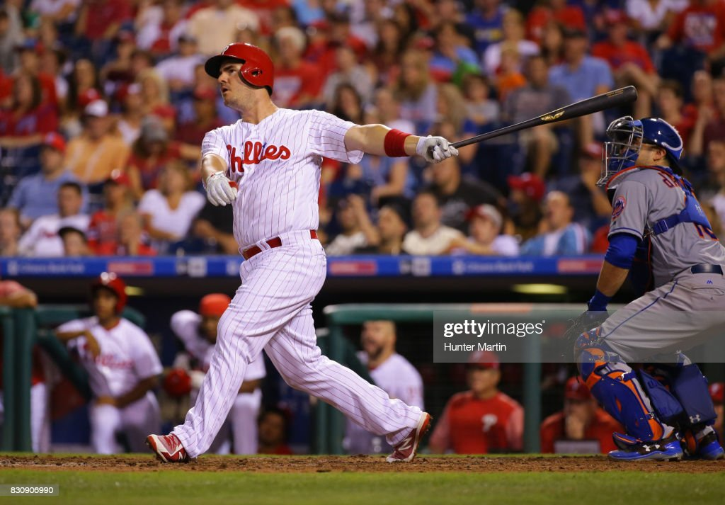 Tommy Joseph #19 of the Philadelphia Phillies hits an RBI sacrifice fly in the eighth inning during a game against the New York Mets at Citizens Bank Park on August 12, 2017 in Philadelphia, Pennsylvania. The Phillies won 3-1.