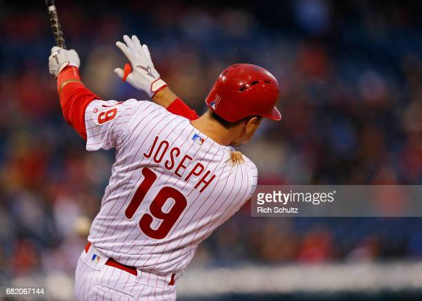 Tommy Joseph of the Philadelphia Phillies in action against the Atlanta Braves during a game at Citizens Bank Park on April 22 2017 in Philadelphia...