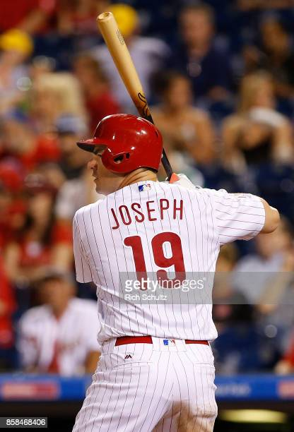 Tommy Joseph of the Philadelphia Phillies in action against the Washington Nationals during a game at Citizens Bank Park on September 26 2017 in...