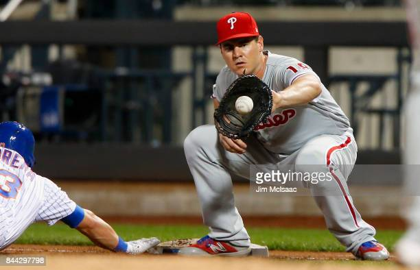 Tommy Joseph of the Philadelphia Phillies in action against the New York Mets at Citi Field on September 6 2017 in the Flushing neighborhood of the...
