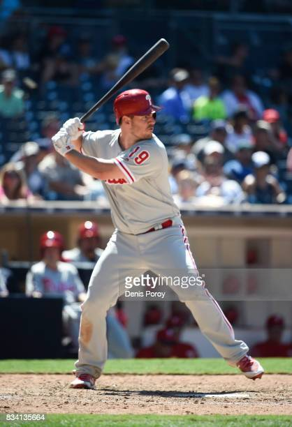 Tommy Joseph of the Philadelphia Phillies plays during a baseball game against the San Diego Padres at PETCO Park on August 16 2017 in San Diego...