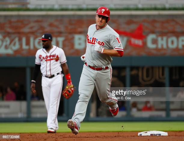 Tommy Joseph of the Philadelphia Phillies rounds second base after hitting a tworun homer to score Aaron Altherr in the first inning against the...