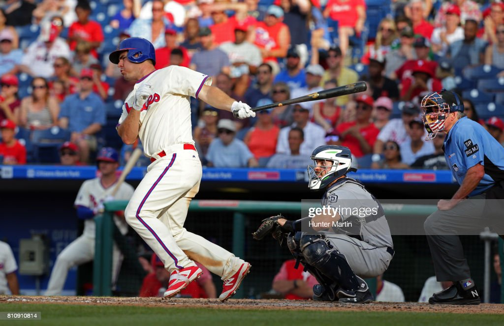 Tommy Joseph #19 of the Philadelphia Phillies singles in the ninth inning during a game against the San Diego Padres at Citizens Bank Park on July 8, 2017 in Philadelphia, Pennsylvania. The Padres won 2-1.