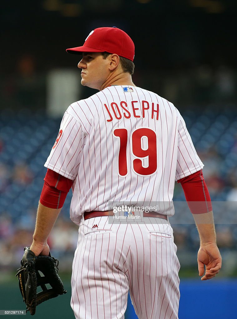 Tommy Joseph #19 of the Philadelphia Phillies stands at first base in the first inning during a game against the Cincinnati Reds at Citizens Bank Park on May 13, 2016 in Philadelphia, Pennsylvania. The Phillies won 3-2.