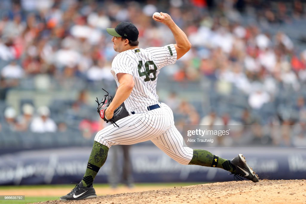 Tommy Kahnle #48 of the New York Yankees pitches during a game against the Houston Astros at Yankee Stadium on Monday, May 28, 2018 in the Bronx borough of New York City.