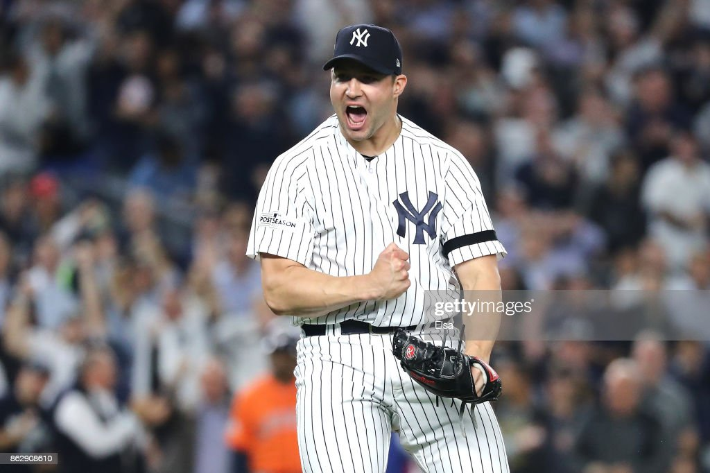 Tommy Kahnle #48 of the New York Yankees reacts at the end of the top of the eighth inning against the Houston Astros in Game Five of the American League Championship Series at Yankee Stadium on October 18, 2017 in the Bronx borough of New York City.