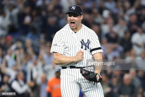 Tommy Kahnle of the New York Yankees reacts at the end of the top of the eighth inning against the Houston Astros in Game Five of the American League...