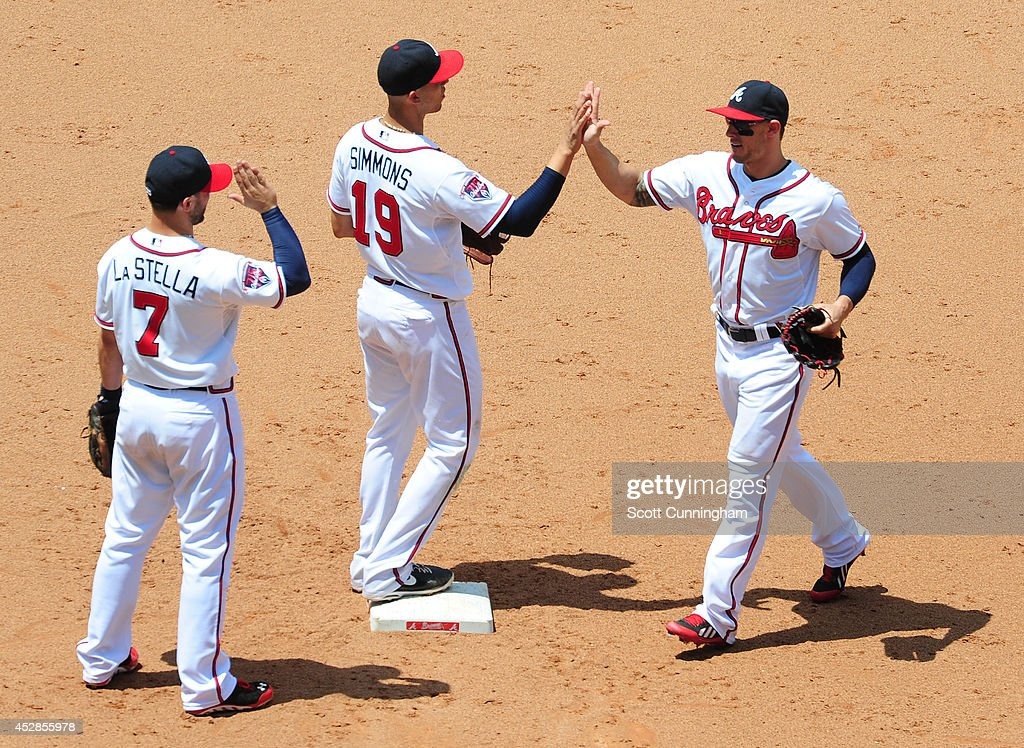 Tommy La Stella #7, Andrelton Simmons #19, and Jordan Schafer #17 of the Atlanta Braves celebrate after the game against the San Diego Padres at Turner Field on July 28, 2014 in Atlanta, Georgia.
