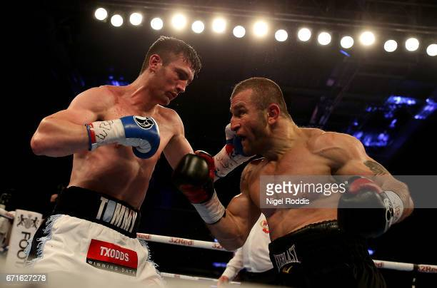 Tommy Langford in action against Avtandil Khurtsidze for the Interim WBO World Middleweight Title at the Leicester Arena on April 22 2017 in...