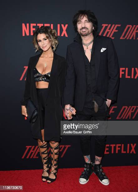 Tommy Lee and Brittany Furlan arrive at the premiere of Netflix's 'The Dirt' at ArcLight Hollywood on March 18 2019 in Hollywood California