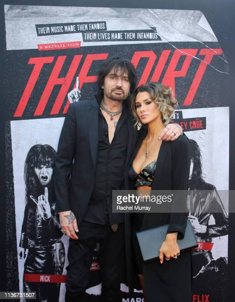 Tommy Lee and Brittany Furlan attend the premiere of Netflix's 'The Dirt at the Arclight Hollywood on March 18 2019 in Hollywood California