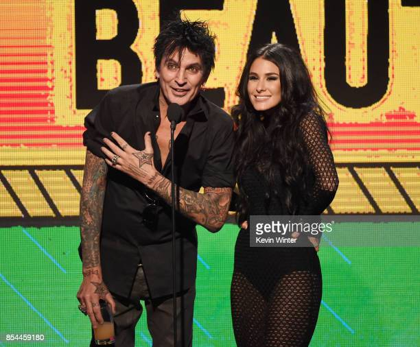 Tommy Lee and Brittany Furlan onstage during the 2017 Streamy Awards at The Beverly Hilton Hotel on September 26 2017 in Beverly Hills California