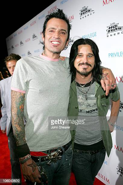 Tommy Lee and Gilby Clarke during Celebrate Extreme Sports With Maxim Magazine at Privilage in Hollywood California United States