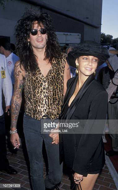 Tommy Lee and Heather Locklear during 1989 MTV Video Music Awards at Universal Amphitheater in Universal City California United States