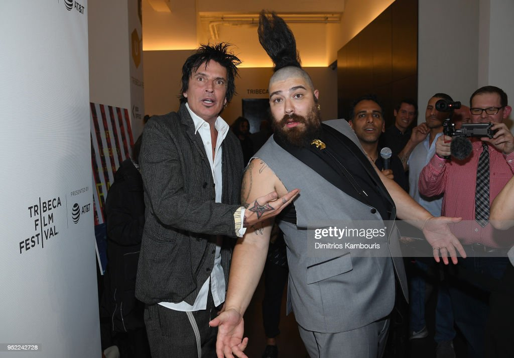 Tommy Lee (L) and Josh Ostrovsky attend the 2018 Tribeca Film Festival World Premiere of Bert Marcus' THE AMERICAN MEME on April 27, 2018 at Spring Studios in New York City.