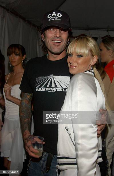 Tommy Lee and Kimberly Stewart during 2003 Smashbox Fashion Week Los Angeles Sherri Bodell Spring Collection 2004 Backstage at Smashbox in Culver...